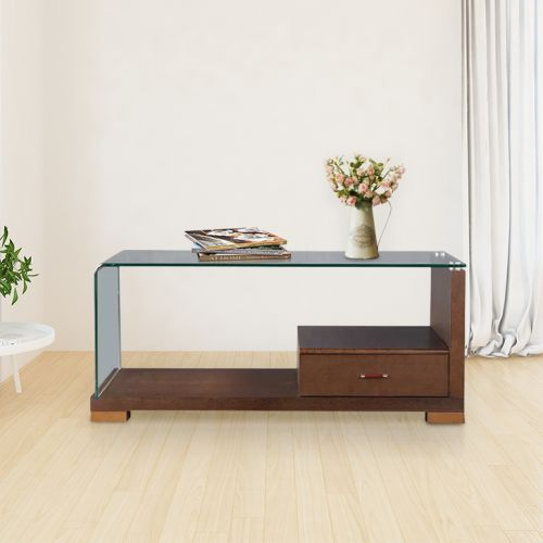 Buy Emily Glass Center Table In Dark Brown Colour By Hometown Online