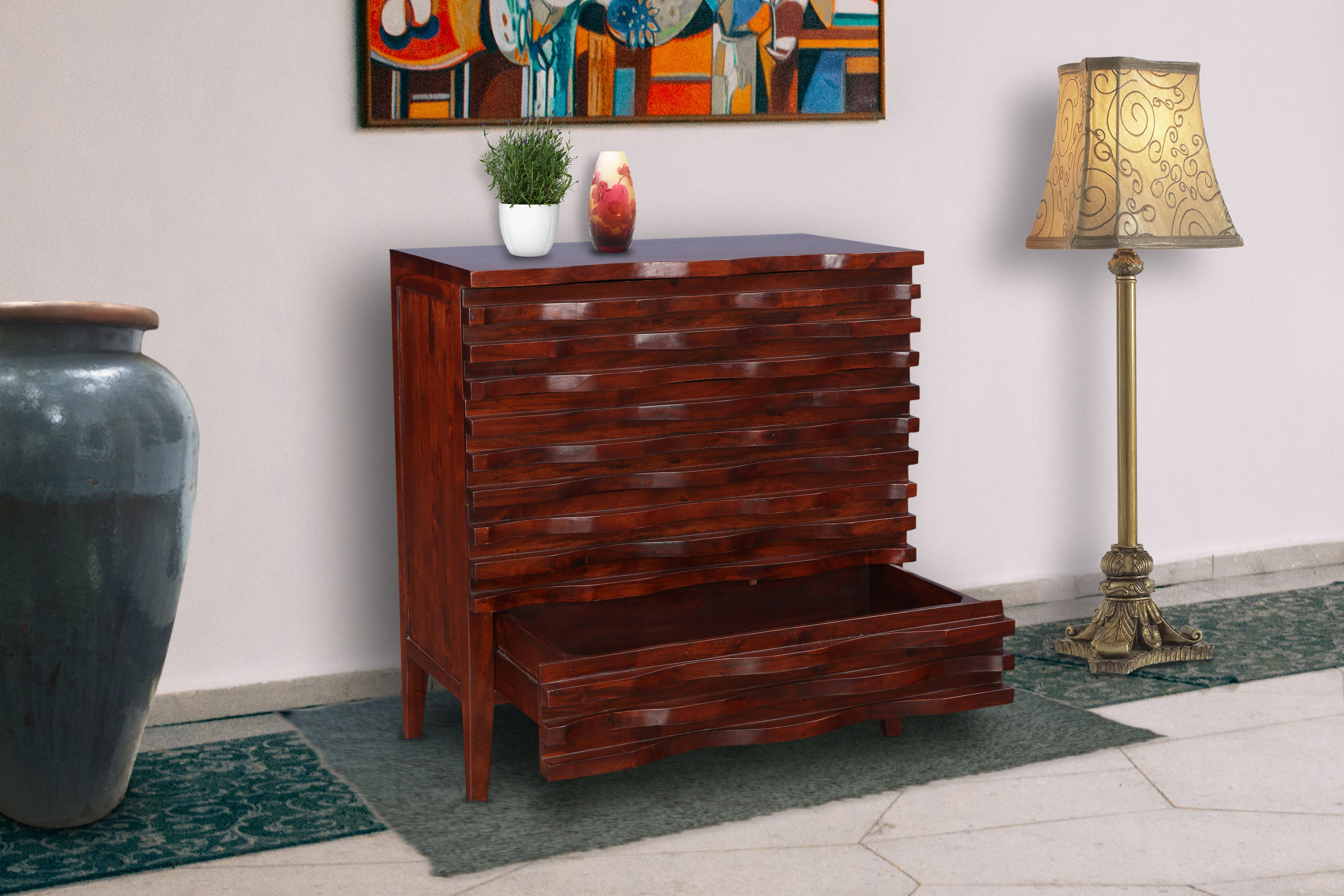 Wave Acacia Wood Chest of Drawers in Brown Colour by HomeTown