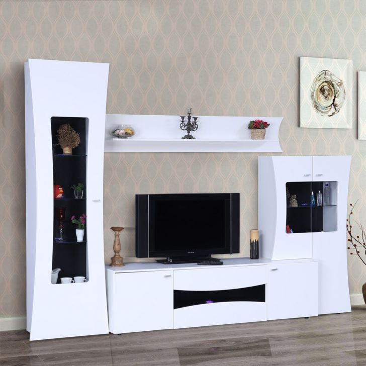 Garnet Engineered Wood High Gloss TV Unit in High Gloss White Colour by HomeTown