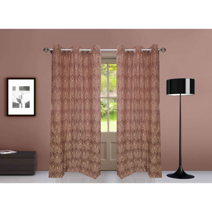 Premium Jacquard Polyester Door Curtain in Brown Colour by Dreamline