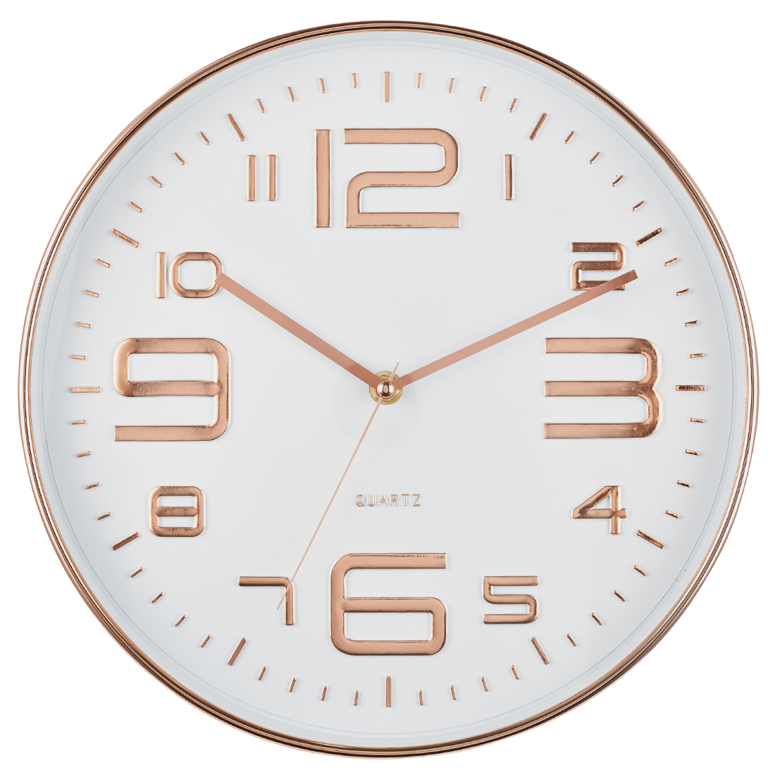 Aeon Metal Rim Wall Clock Plastic Modern Clocks in White&Copper Colour by Living Essence