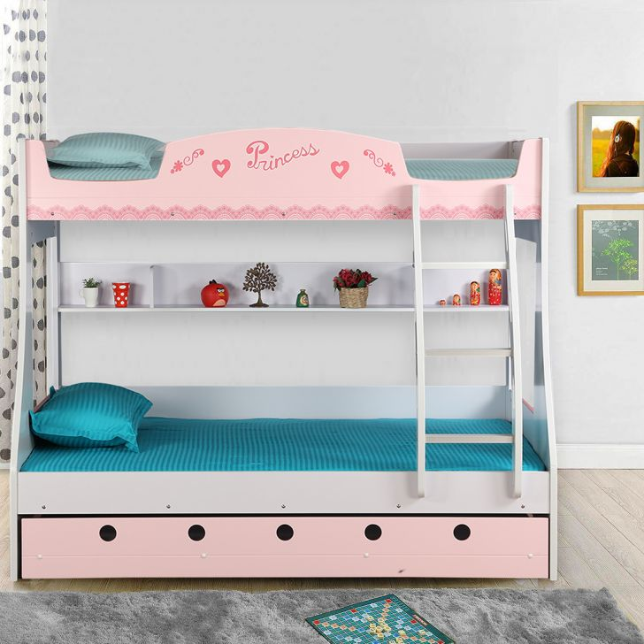 Princess Engineered Wood Bunk Bed in Pink Colour by HomeTown
