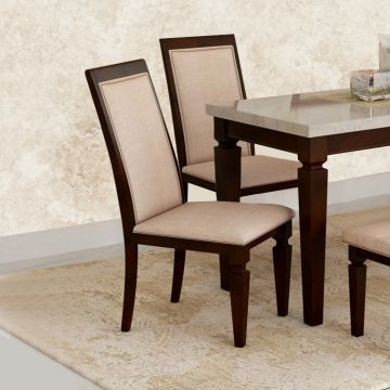 Bliss Solid Wood Dining Chair Set of Two in Beige & Brown Colour by HomeTown
