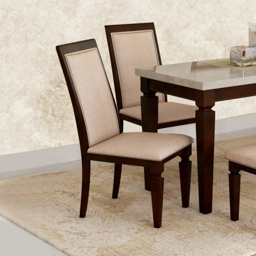 Bliss Solid Wood Dining Chair Set Of Two In Beige Brown Colour By Hometown