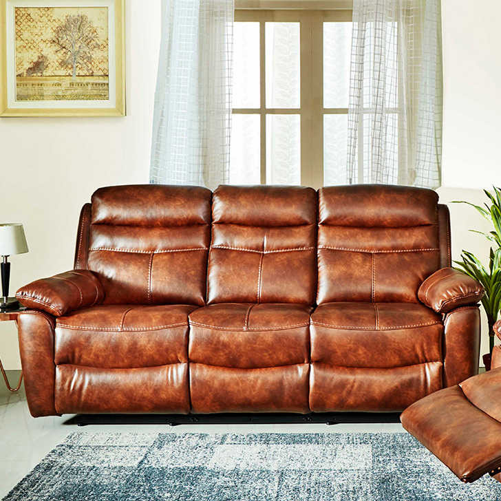 Logan Fabric Three Seater Recliner in Brown Colour by HomeTown
