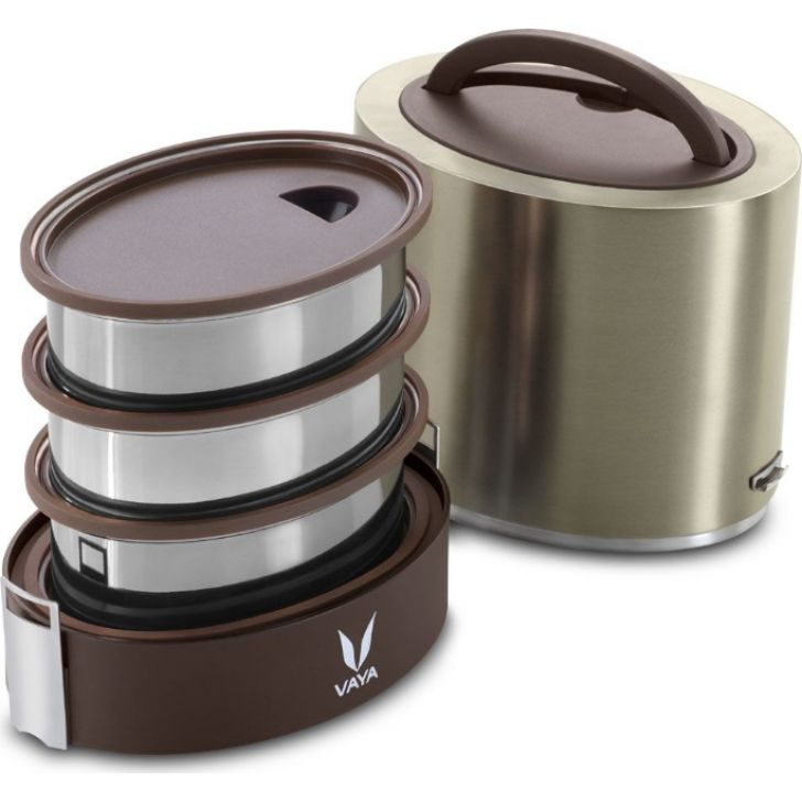 Vaya Tyffyn 1000 Ml - 3 Stainless Steel Containers, Graphite