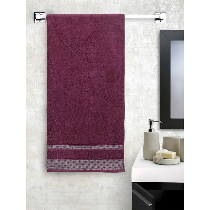 Spaces Cotton Bath Towel in Wine Colour by Spaces
