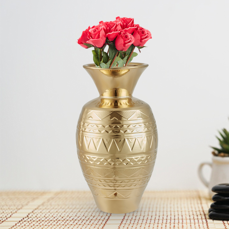 Blake Aztec Mataka Vase Large 40Cm Ceramic Vases in Gold Colour by Living Essence