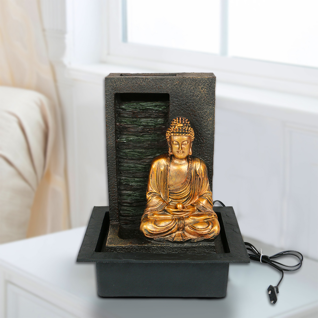 HomeTown Impression Buddha Water Fall Fountain Polyresin Small Fountains in Brown & Gold Colour by HomeTown