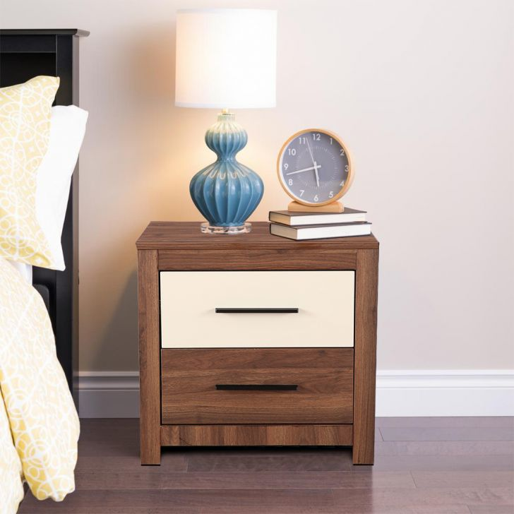 Ambrosia Engineered Wood Bedside Table in Wallnut & Off White Colour by HomeTown