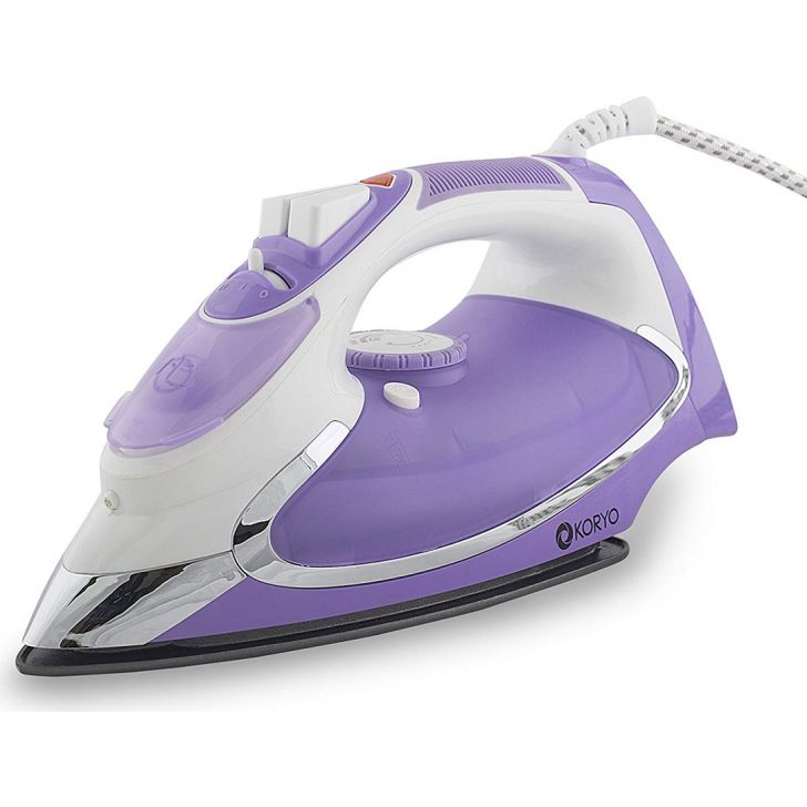 Steam Iron With Anti Calc Technology (1600 W) - Purple by Koryo
