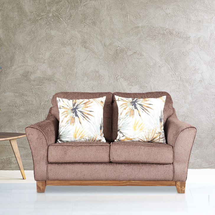 Rotterdam Fabric Two Seater sofa in Brown Colour by HomeTown