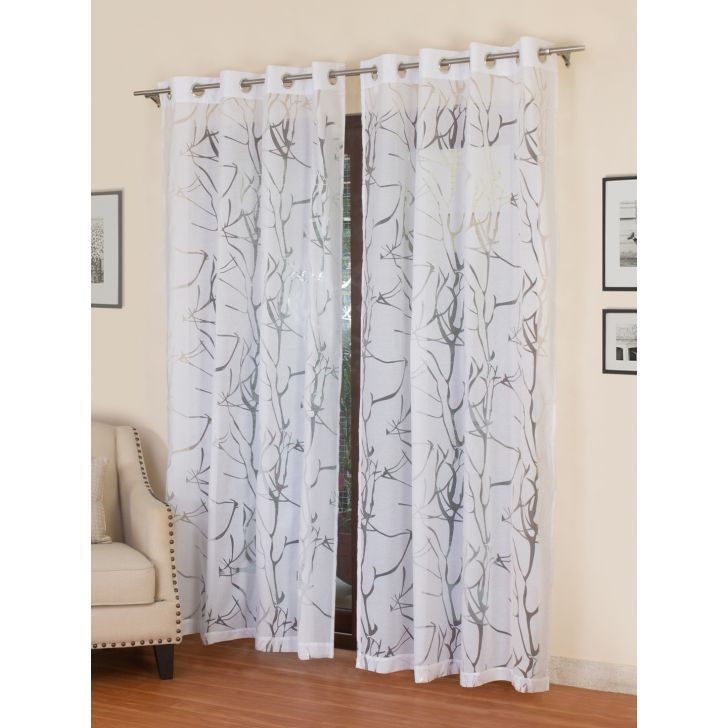 Floral Long Door Curtain In White Color By Rosara Home