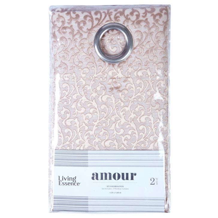 Amour  Set Of 2 Semi Blackout Window Curtain 135X160 CM in Beige Colour by Living Essence