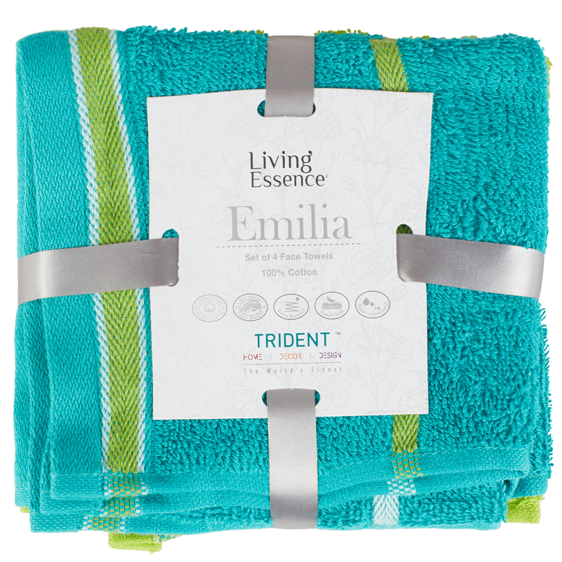 Emilia Set of 4 Cotton Face Towels in Teal Lime Colour by Living Essence