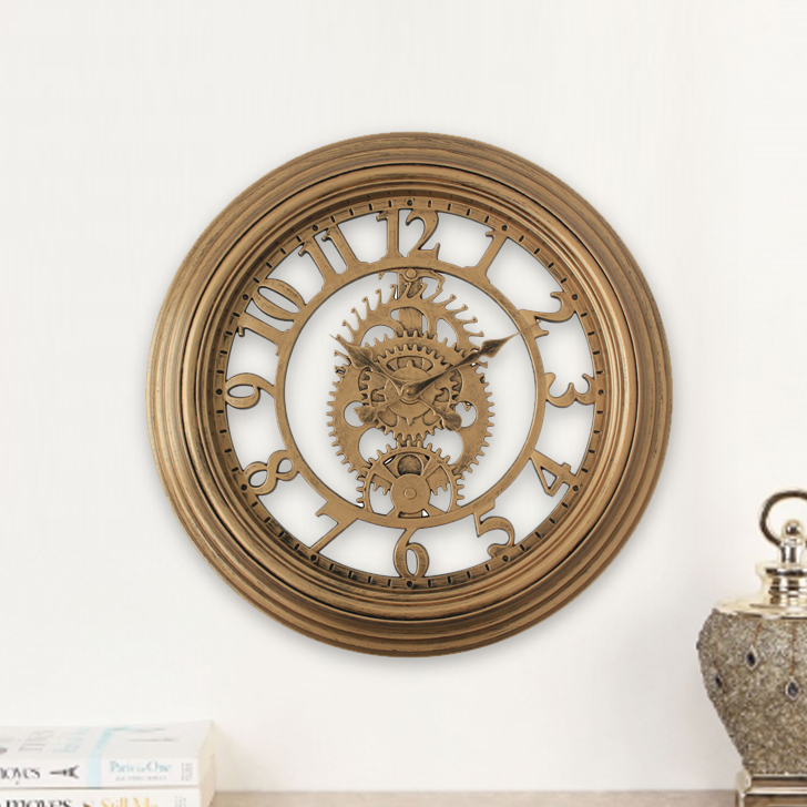 Aristo Mechanised With Gold Rim Border Classic Clocks in Brown, Neutrals Colour by Living Essence