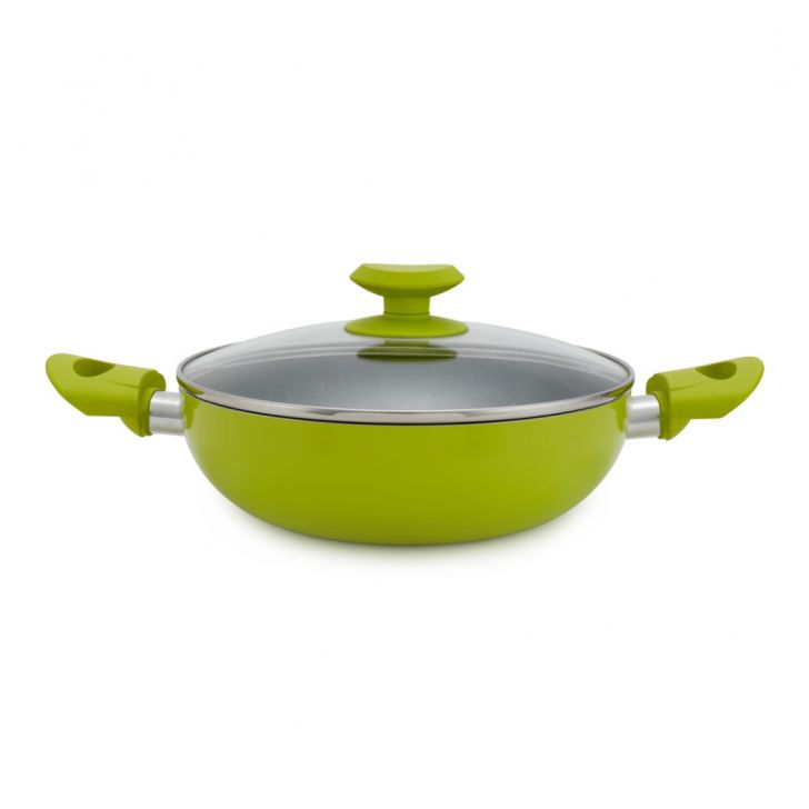 Lime Colour Kadai With Lid 24 Cm Pressed Alluminium Kadhai & Wok in Green Outside And Grey Inside Colour by Living Essence
