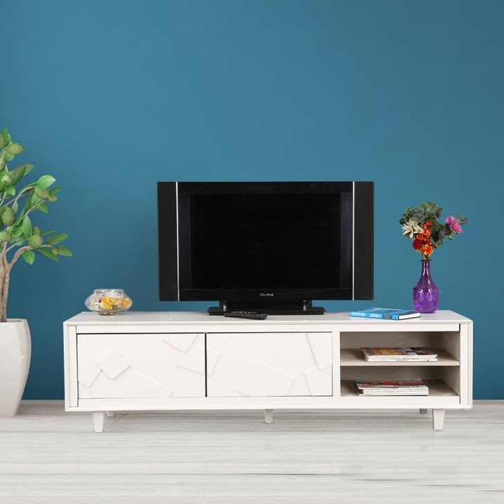 Norah Engineered Wood TV Unit in White Colour by HomeTown