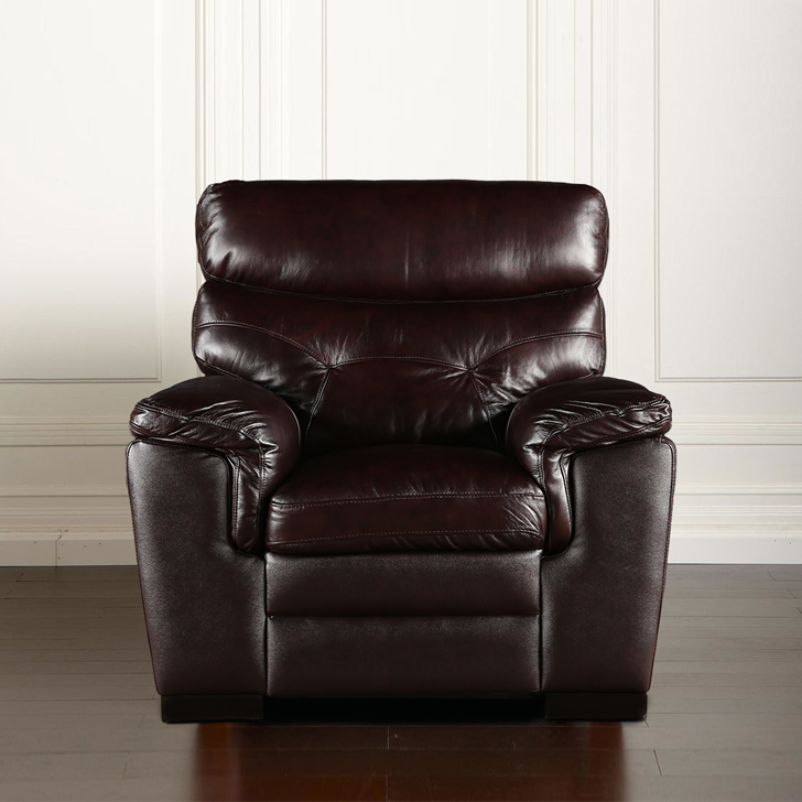Bradley Half Leather Single Seater sofa in Dark Brown Colour by HomeTown