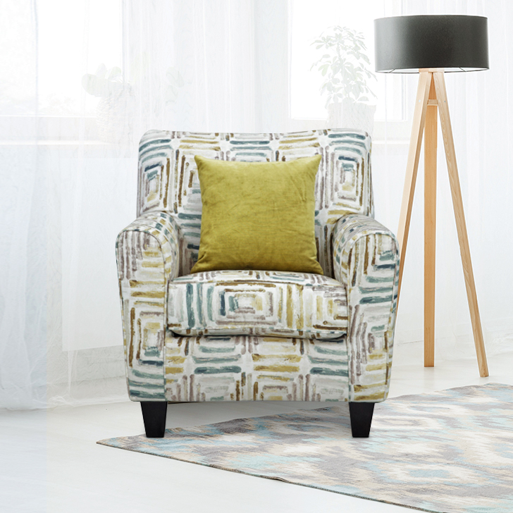 Cadence Fabric Single Seater Sofa in Off White Colour by HomeTown