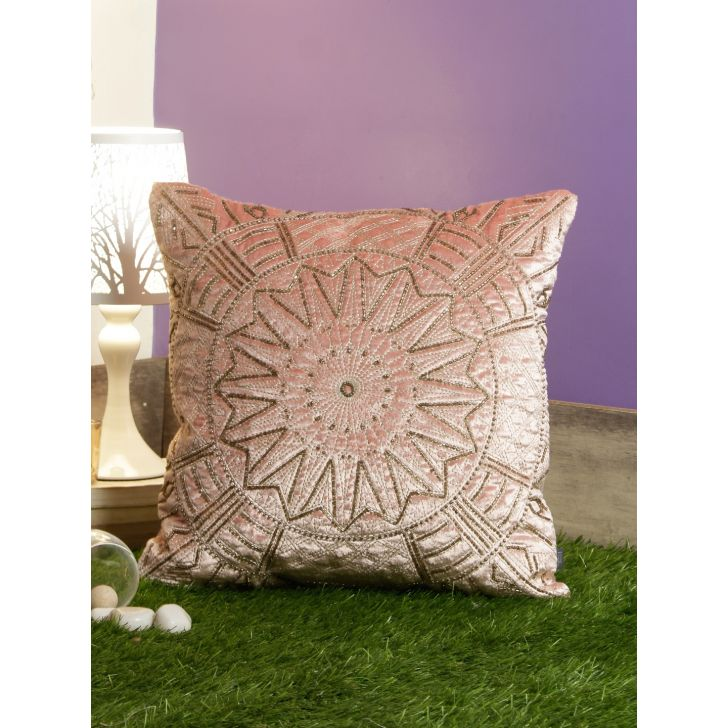 Chakra Cotton Cushion Covers in Blush Colour by Living Essence