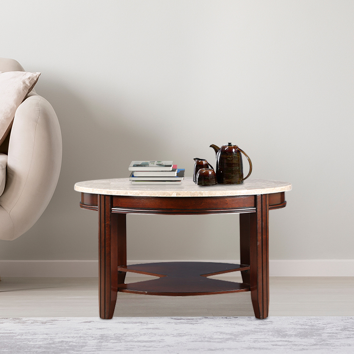 Loraine Solid Wood Center Table in Off White & Brown Colour by HomeTown