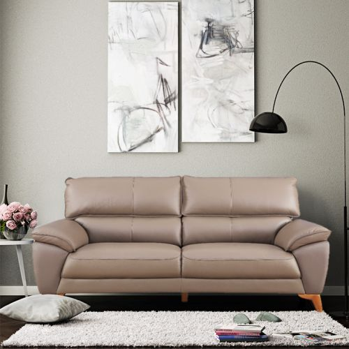 Buy Georgia Half Leather Three Seater Sofa In Brown Colour By
