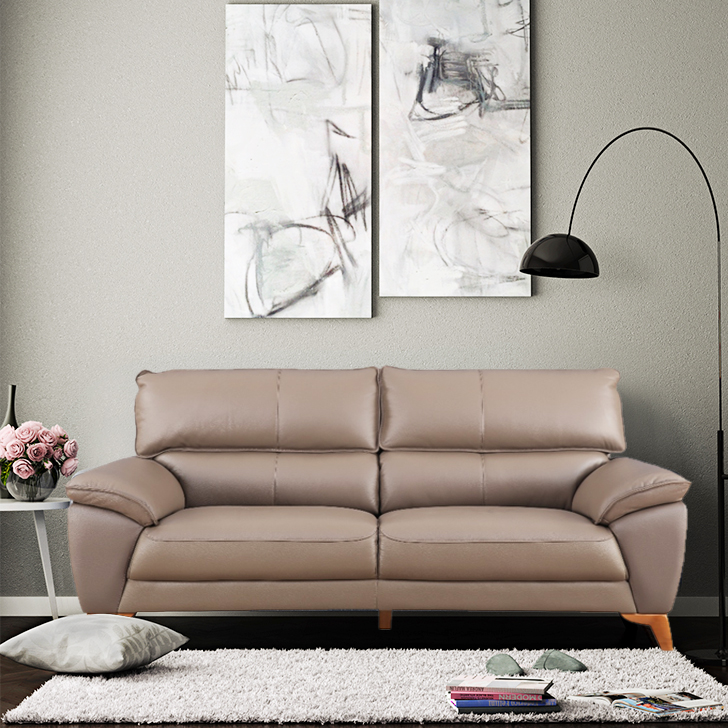 Georgia Half Leather Three Seater Sofa in Brown Colour by HomeTown