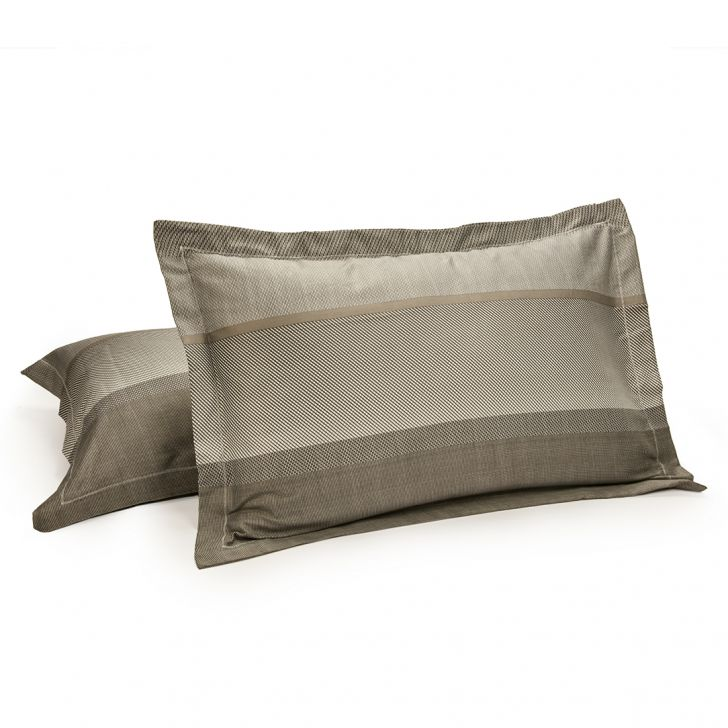 Set of 2 Pillow Cover Amour Stripe Grey Cotton Pillow Covers in Cotton Colour by Living Essence