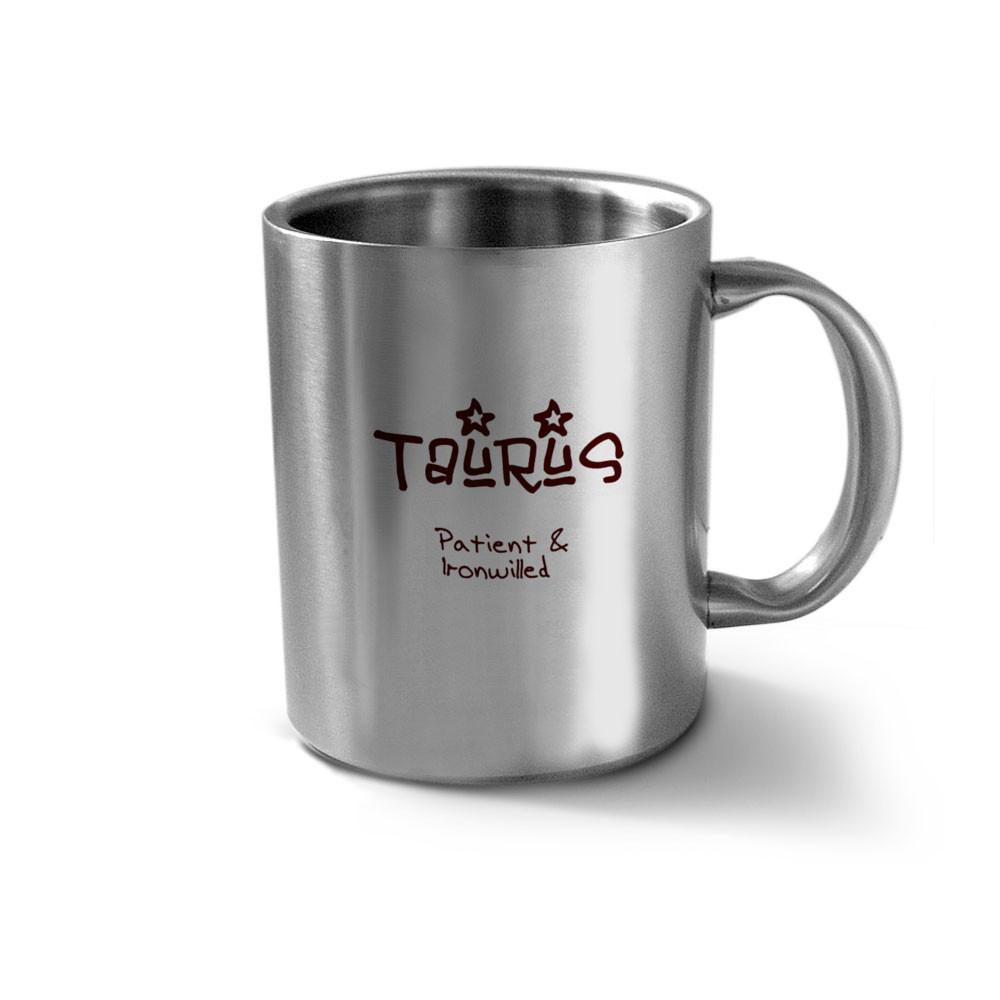 Hot Muggs Taurus Personality Stainless Double Walled Mug Stainless steel Coffee Mugs in Silver Colour by HotMuggs