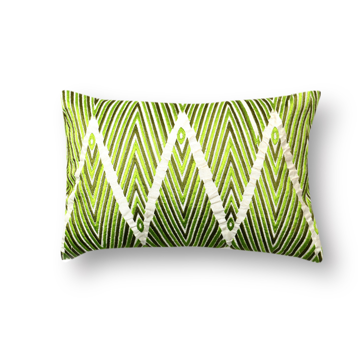 Ceylon Polyester Cushion Cover Green Polyester Cushion Covers in Green Colour by Living Essence