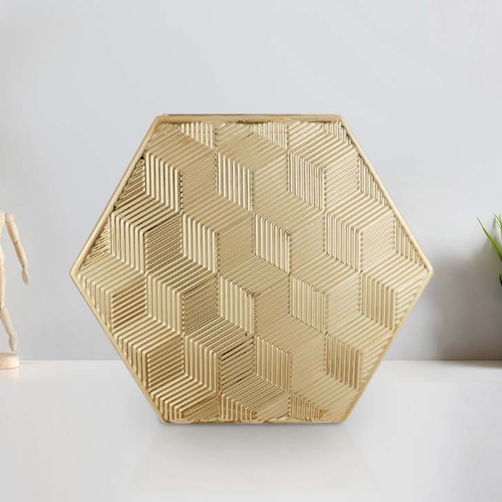 Blake Cube Textre Hexagon Vase 31 Cm Ceramic Vases in Gold Colour by Living Essence