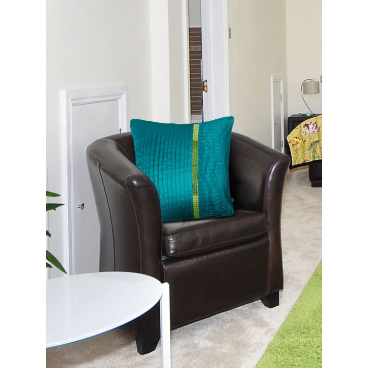 Tropical Safari Knife Pleat Polyester Cushion Covers in Teal Colour by Living Essence