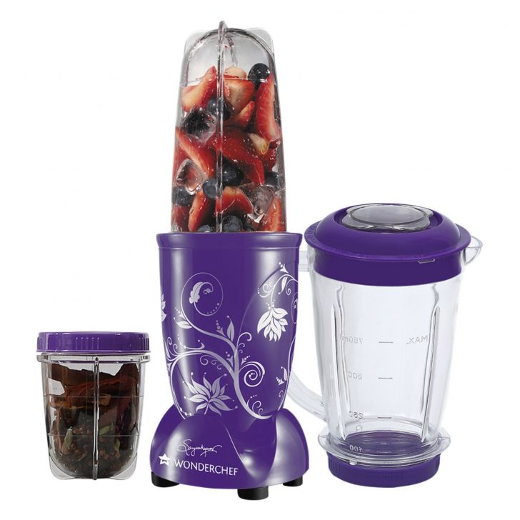 Blender & Grinder With Big Mixing Jar Plastic Blenders & Grinders in Purple Colour by Wonderchef