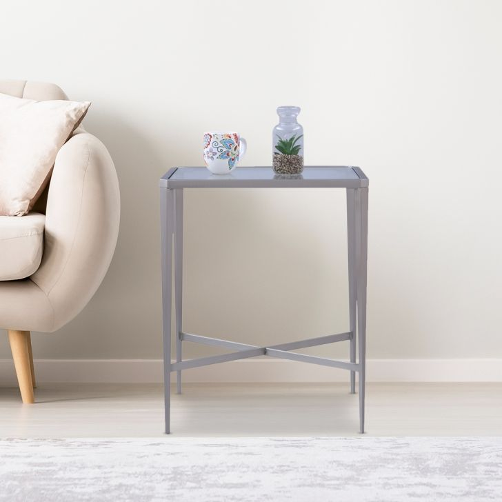Venezia Glass Top Side Table in Brushed Steel Colour