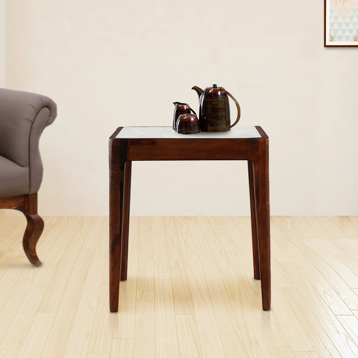 Davis Solid Wood Stool in Brown & White Colour by HomeTown