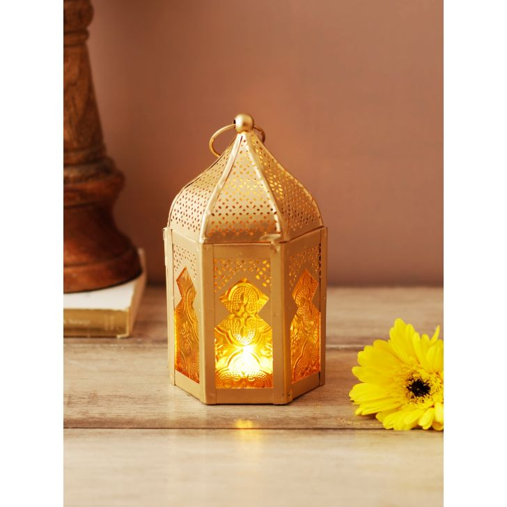 Allure Metal Candle Holders in Amber Gold Colour by Living Essence