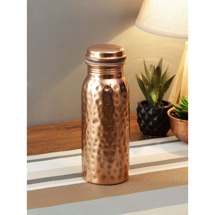 Hammered Copper Bottle 500 Ml in Copper Colour by Living Essence