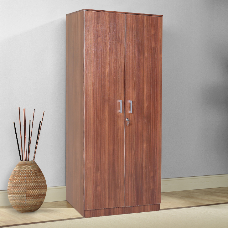 Prime Engineered Wood Two Door Wardrobe in Regato Walnut Colour by HomeTown