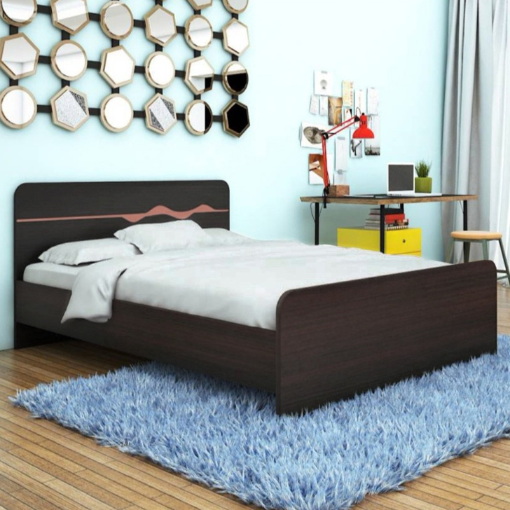 Swirl Engineered Wood Queen Size Bed in Wenge Colour by HomeTown