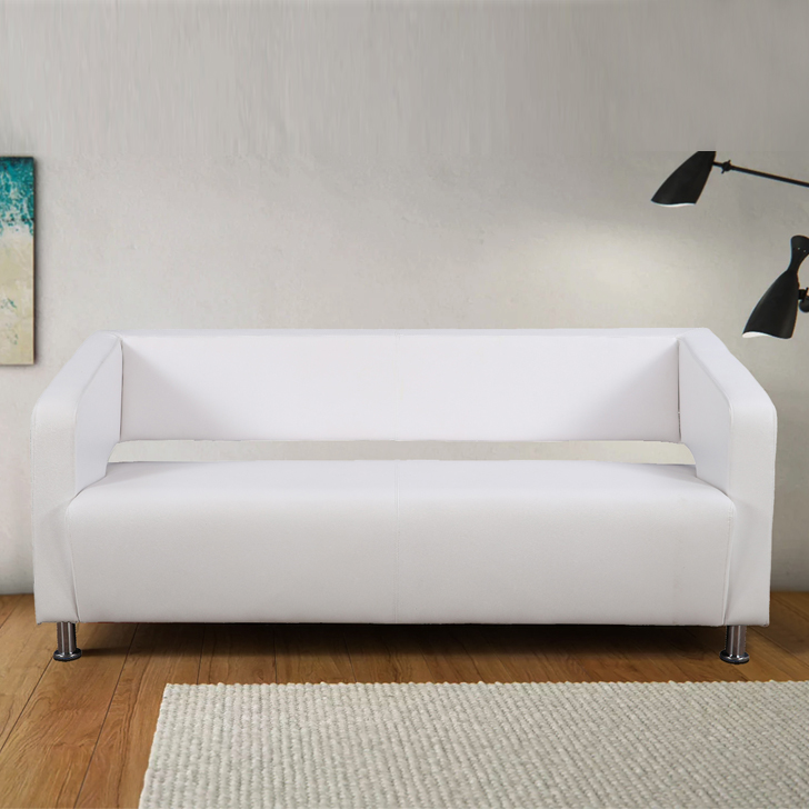 Arrow PVC Three Seater Office Sofa in White Colour by HomeTown