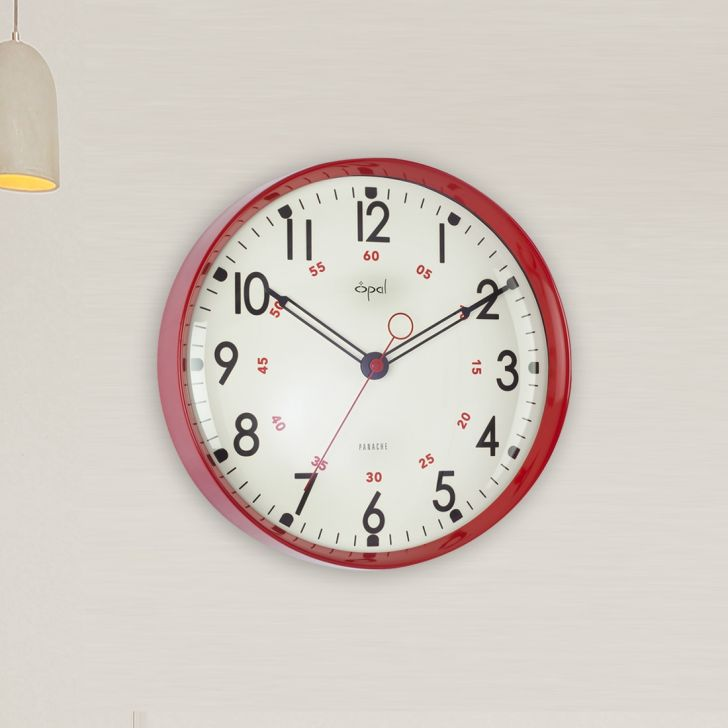 Opal Glass Modern Clocks in Red Colour by Opal Clocks