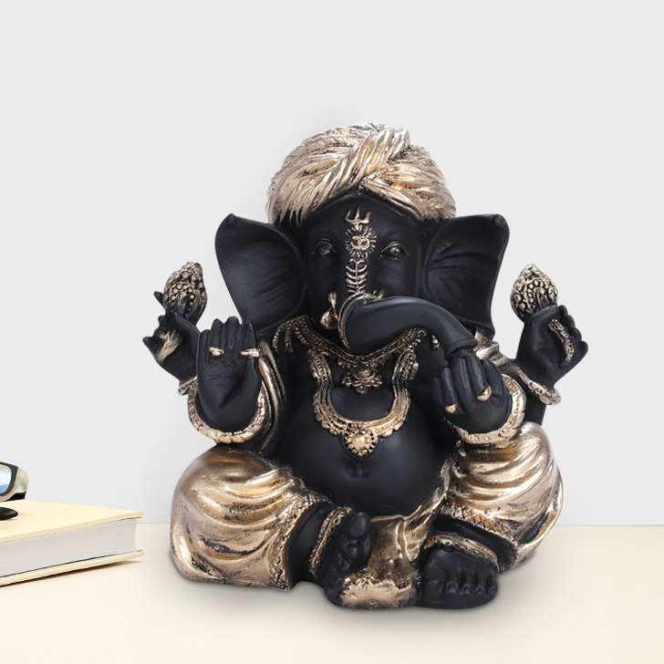 Fio Ganesha Small Polyresin Idols in Black-Gold Colour by Living Essence