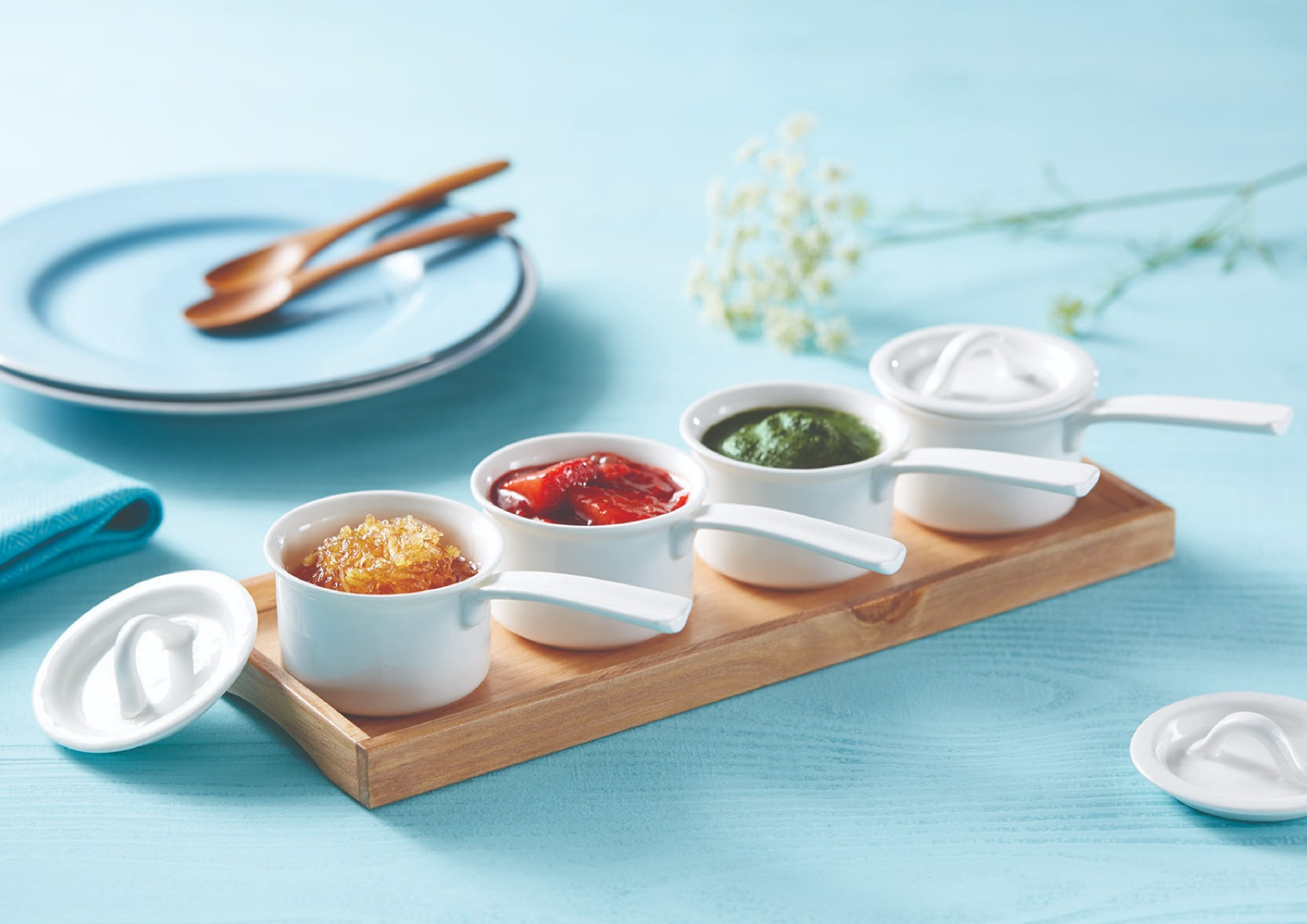 Saucepan Condiment Set Serving Sets in Natural Wood Colour by Songbird