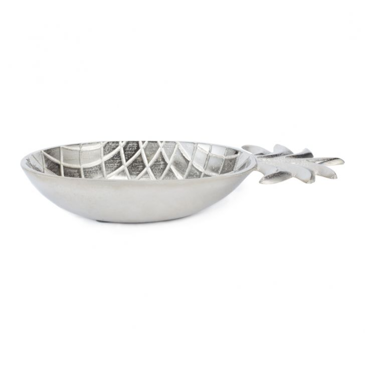 Aspen Pineapple Plater Large Silver Glass Table D in Silver Colour by Living Essence