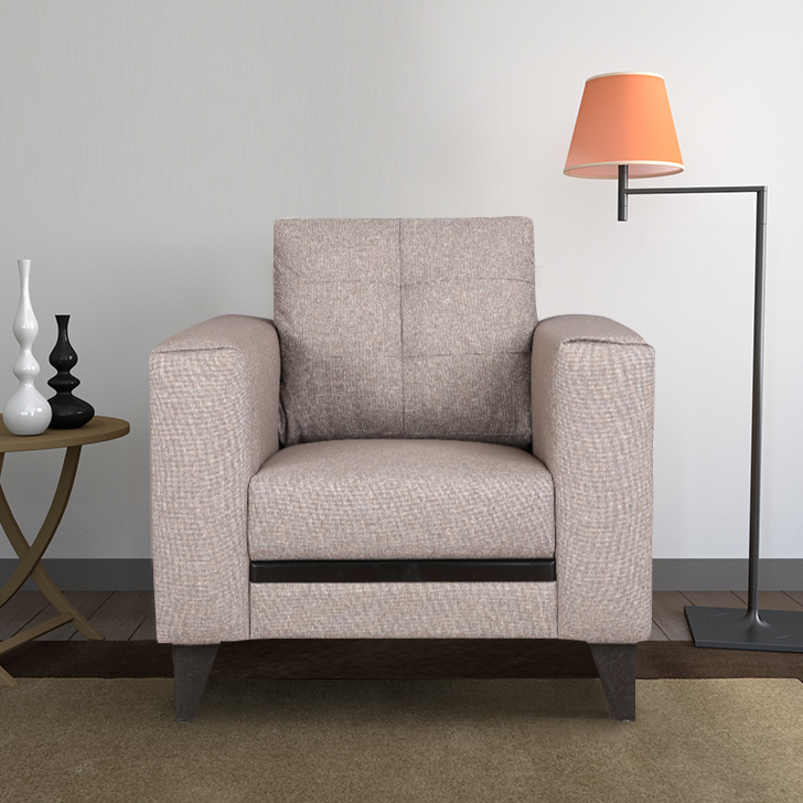 Garcia Fabric Single Seater sofa in Brown Colour by HomeTown