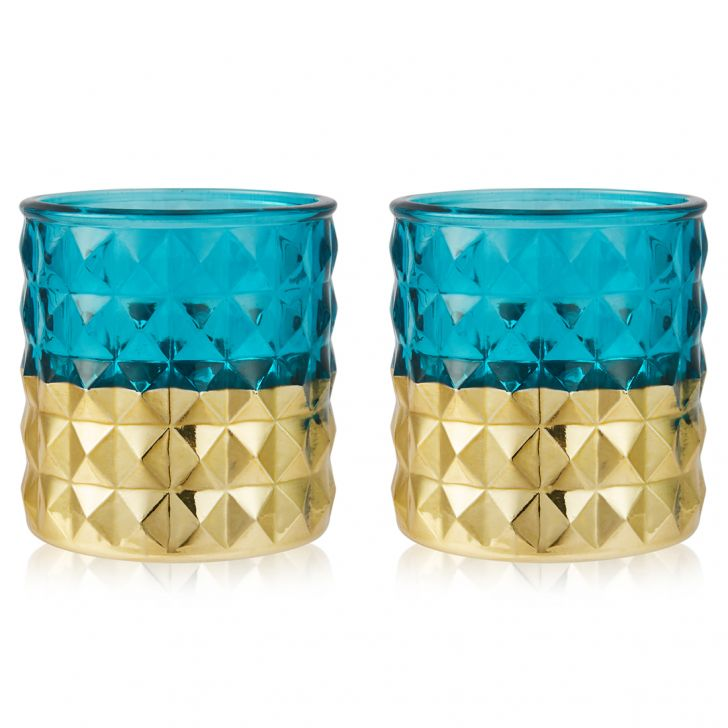 Meira Set Of Two Geometric Pattern Candle Holders in Blue Colour by Living Essence