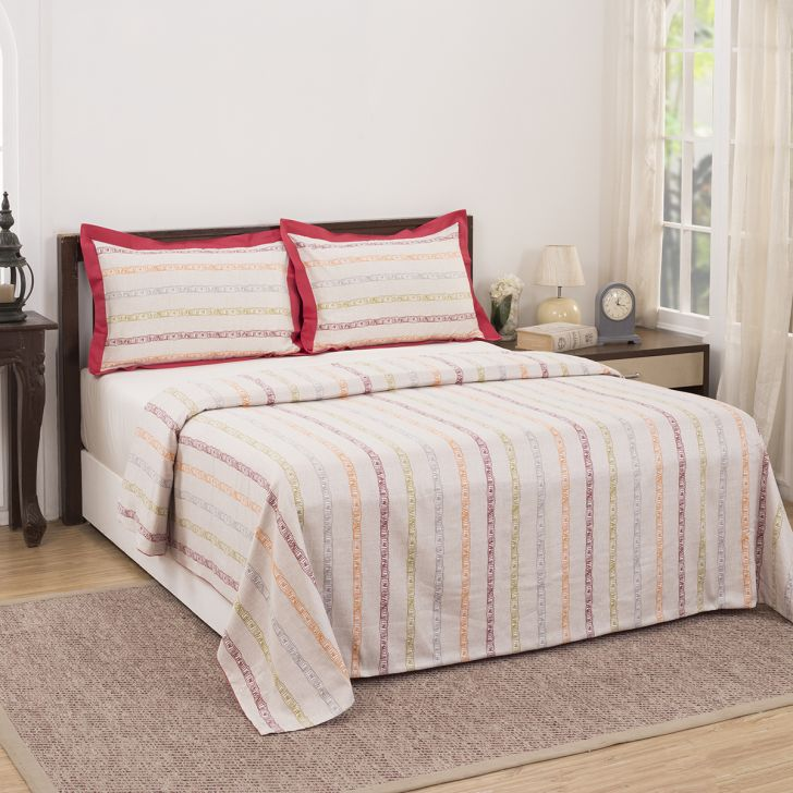 Maspar 210 TC Ruffle Stripe Cotton Red King Duvet Cover with 2 Pillow Covers