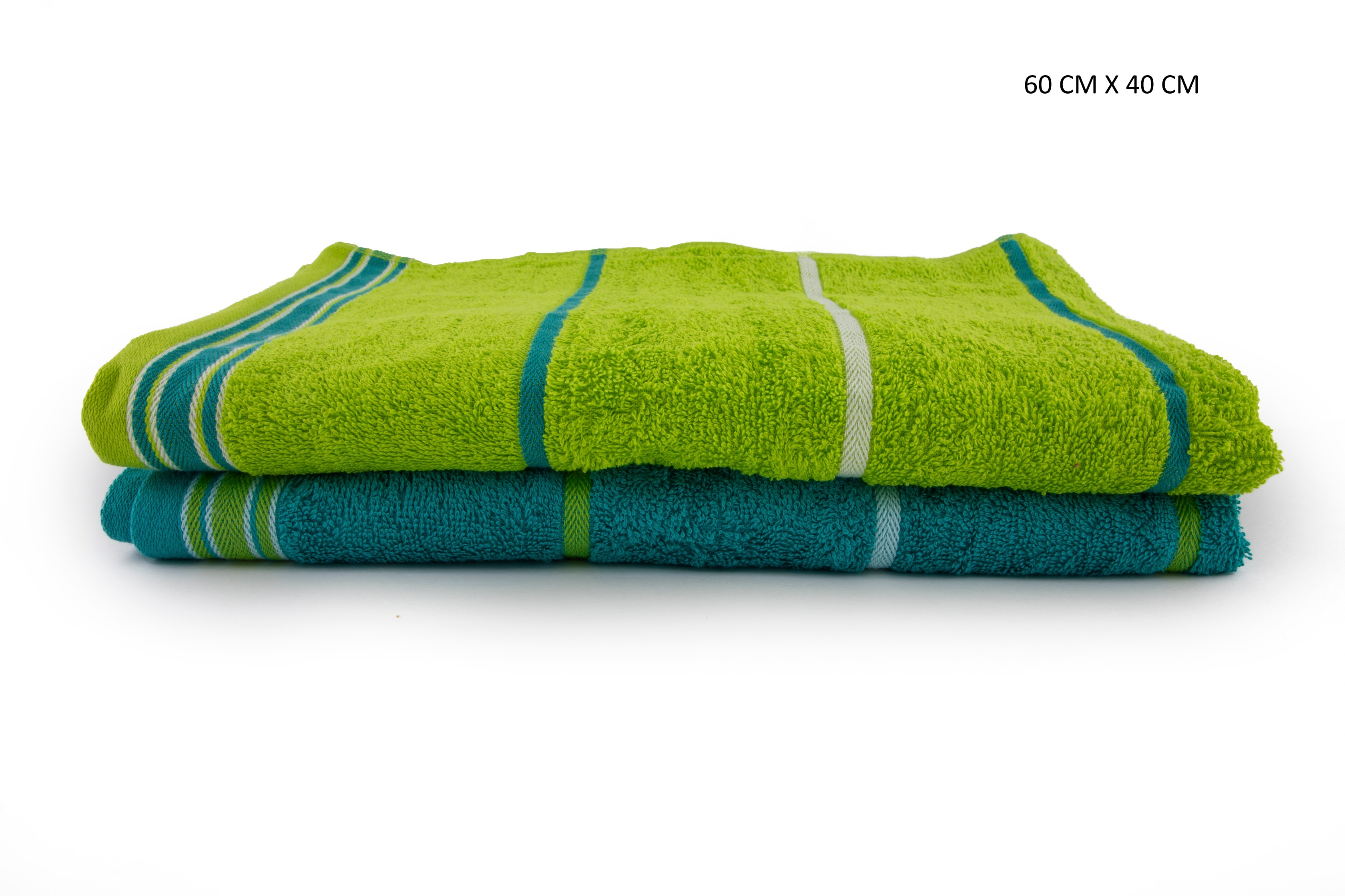 Emilia Handtowel Set Of 2 Cotton Hand Towels in Teal & Lime Colour by HomeTown