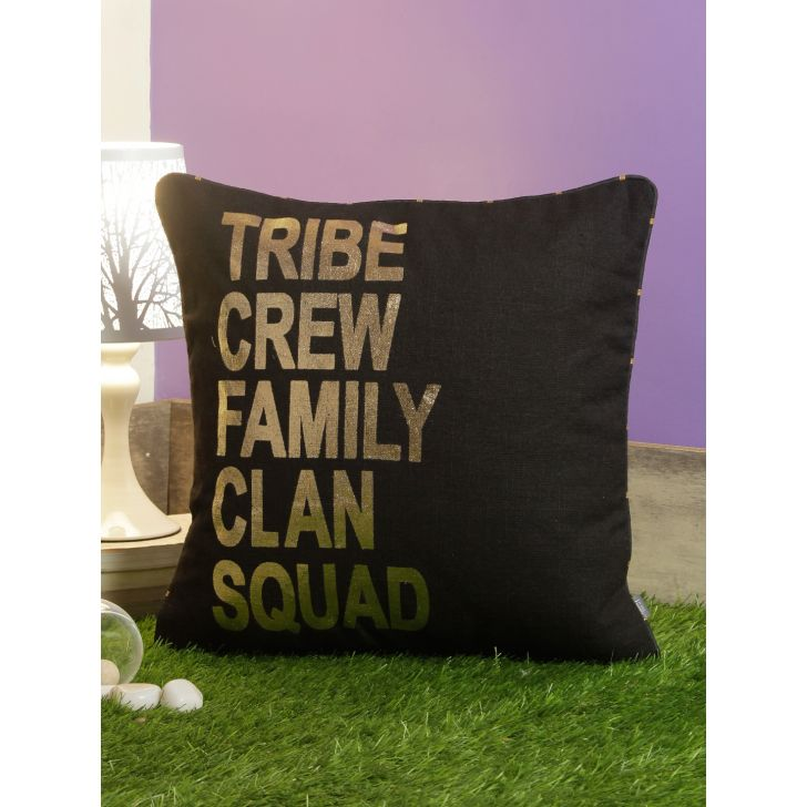 Family Cotton Cushion Covers in Black Colour by Living Essence